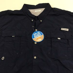 🆕 COLUMBIA PFG Mens 4X Tall Blue Fishing Shirt